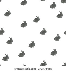 Seamless watercolor pattern with bunny