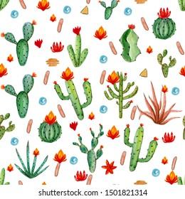 Seamless watercolor pattern of cacti in pots on white background, illustration in vintage style. - Illustration