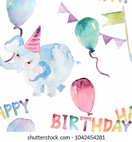 greeting card watercolor figure animals inscriptions stock