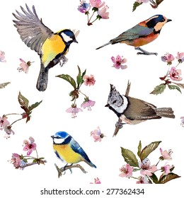 Seamless watercolor pattern cherry blossom and birds. Textile print. Isolated on white background.