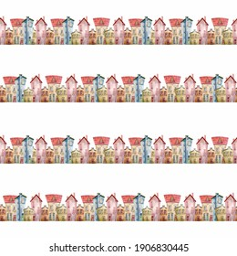 Seamless watercolor pattern with cute little houses. A fabulous multicolored city. Hand-drawn illustration. Design for clothing, textiles, postcards, wallpapers and wrappers