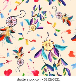 Seamless watercolor pattern with dream catchers and feathers. Heart and arrow elements
