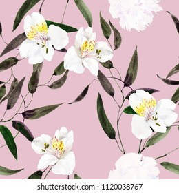 Seamless watercolor pattern with exotic white orchids, leaves.