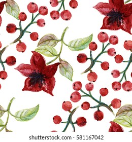 Seamless watercolor pattern with flowers and berries on white background.