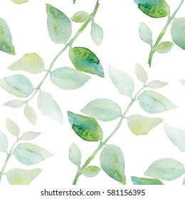 Seamless watercolor pattern with green leaves on white background.