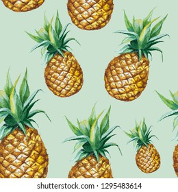 Seamless watercolor pattern with hand drawn pineapple isolated on green background