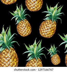 Seamless watercolor pattern with hand drawn pineapple isolated on black background
