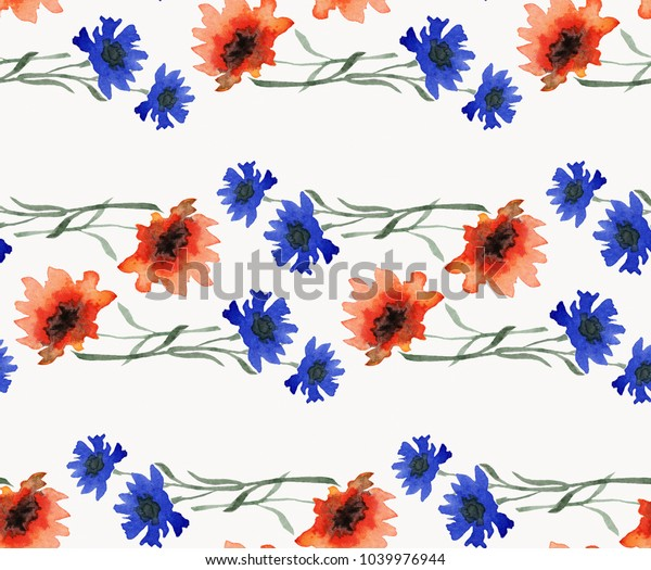 Seamless watercolor pattern of horizontal garlands of bright field flowers. Blue cornflowers and red poppies on a white background.
