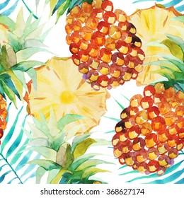 Seamless watercolor pattern with a juicy pineapple on a white background. Positive summer pattern