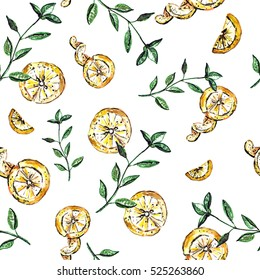 Seamless watercolor pattern with lemon and basil