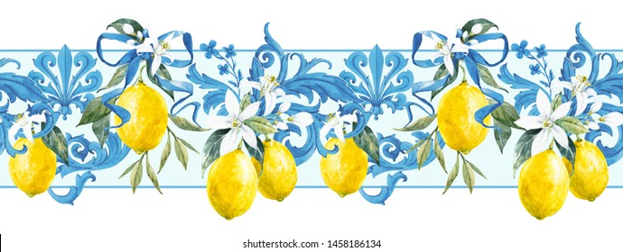 Seamless watercolor pattern with lemons and baroque ornament, blue Mediterranean pattern, yellow lemons with flowers. horizontal wallpapers