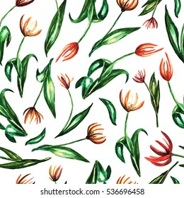 Seamless watercolor pattern with lily flowers