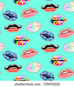 Seamless watercolor pattern with lips print. Postcard, T-shirt print, patch. Illustration
