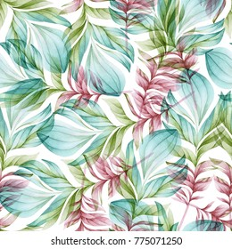 Seamless watercolor pattern made from colorful feathers of fabulous birds on a white background. Simple and elegant fabric pattern. In green and pink tonas.