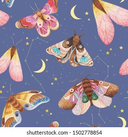 Seamless watercolor pattern with moths in the night starry sky. Night butterfly. Design for card, fabric, print, greeting, cloth, poster, clothes, textile. Hand drawn decor decoration.