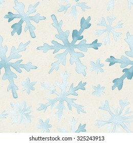 Seamless watercolor pattern on paper texture. Christmas background.