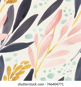 Seamless watercolor pattern on paper texture. Floral background