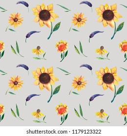 Seamless watercolor pattern on violet background. Sunflowers, leaves and wild herbs