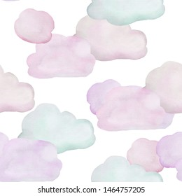 Seamless watercolor pattern with pink clouds.