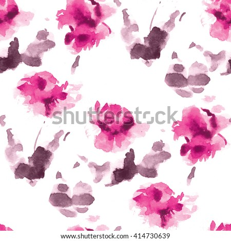 Royalty free stock illustration of seamless watercolor pattern pink seamless watercolor pattern of pink flowers and purple leaves on a white background mightylinksfo