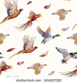 Seamless watercolor pattern. Quails, pheasants, ducks. Hunting. Hand drawn