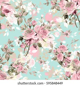 Seamless watercolor pattern with rose buds and leaves NO