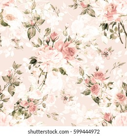 Seamless watercolor pattern with rose buds and leaves G