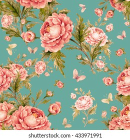 Seamless watercolor pattern with roses and butterflies W  Beautiful pattern for decoration and design. Trendy print. Exquisite pattern for design of watercolor sketches of the flowers. Vintage, retro.
