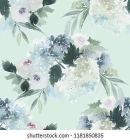 Seamless watercolor pattern with roses and hydrangeas