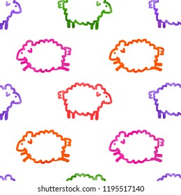 Seamless watercolor pattern with sheeps
