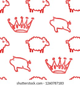 Seamless watercolor pattern with sheeps and crowns