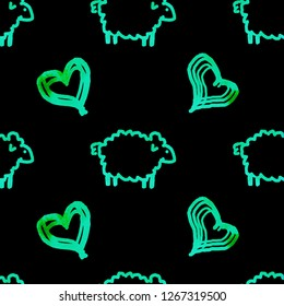 Seamless watercolor pattern with sheeps and hearts