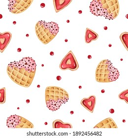 Seamless watercolor pattern of sweet desert. Waffle hearts, cream. Love illustration for Valentines, wedding, scrapbooking, card, invitation