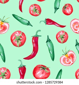 Seamless watercolor pattern with tomato and chili pepper isolated on green background