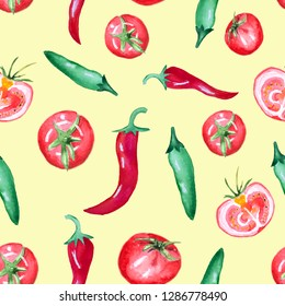 Seamless watercolor pattern with tomato and chili pepper isolated on yellow background