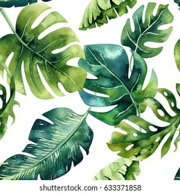 Seamless watercolor pattern of tropical leaves, dense jungle. Hand painted palm leaf. Texture with tropic summertime  may be used as background, wrapping paper, textile or wallpaper design.