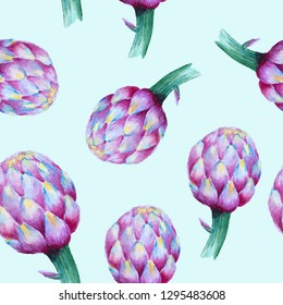 Seamless watercolor pattern with violet artichoke