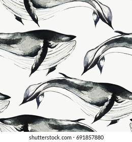 Seamless watercolor pattern with whales. Seamless background. Watercolor whale  illustration.