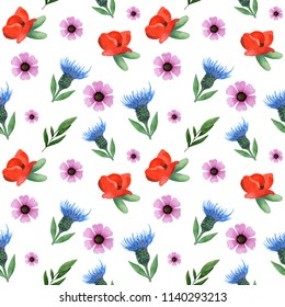 Seamless watercolor pattern with wildflowers: blue cornflowers, red poppies, green leaves, herbs, pink anemones. Perfect for wedding,invitation,template card,Birthday,textile, walpaper, wrapping paper