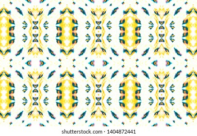 Seamless Watercolor Peru Pattern. Handdrawn Geometric Decoration. Dirty Native Oriental Kaftan. Ink Yellow and Black Ethnic Ornament. American, Mexican or Peru Pattern.