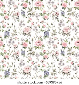 Seamless watercolor rose pattern, grass and wildflowers-2