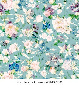 Seamless watercolor rose pattern, grass and wildflowers NH