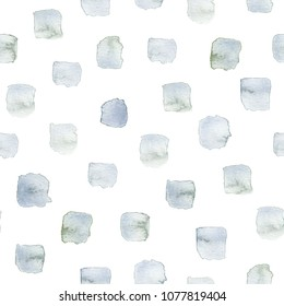 Seamless watercolor swashes pattern in shades of silvery gray-green, faded turquoise and indigo. All over hand-painted texture for digital textile printing, gift wrap and wallpaper backgrounds.