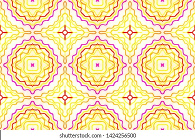 Seamless Watercolor Talavera Pattern. Yellow, Red and Orange Ethnic Ornament. Ornamental Faience Print Design. Abstract Geometric Artistic Border. Talavera Pattern Design.