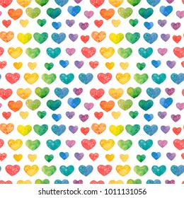 Seamless watercolor texture (pattern) with hearts on the white background (isolated)