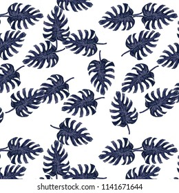 Seamless watercolor tropical monstera pattern. Hand painted watercolor illustration monster. Tropical seamless botanical watercolor exotic floral pattern.Tropical palm leaves. Blue rainforest leaf.