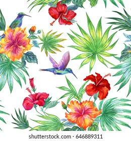 Seamless watercolor tropical pattern of hibiscus and hummingbird on a white background.