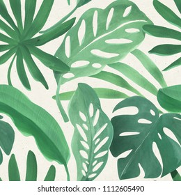 Seamless watercolor tropical pattern on paper texture. Botanical background