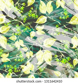 Seamless watercolor vintage pattern - branch of a linden, flower.splash of abstract paint, fashionable art background, shawl. Linden tree, linden flowers, leaves. Abstract splash yellow watercolor
