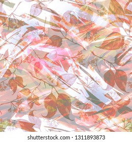 Seamless watercolor vintage pattern - branch of a linden, flower.splash of abstract paint, fashionable art background, shawl. Linden tree, linden flowers, leaves. Abstract splash pink watercolor paint